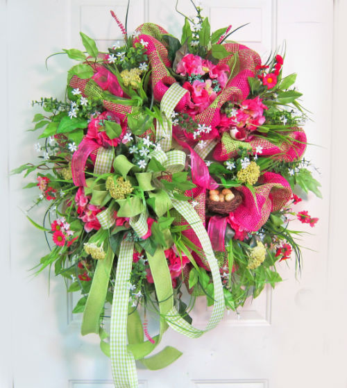 Deco mesh spring door wreath ladybug wreaths by nancy for How to make door wreaths for spring