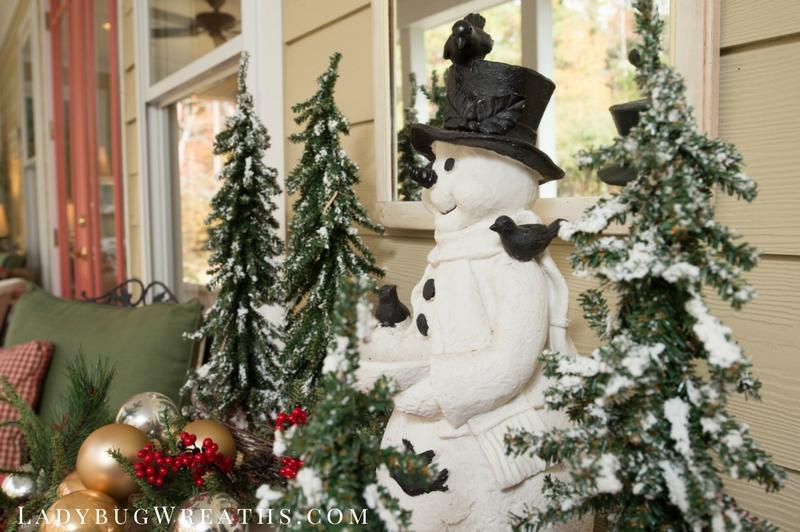 Snowman on Porch